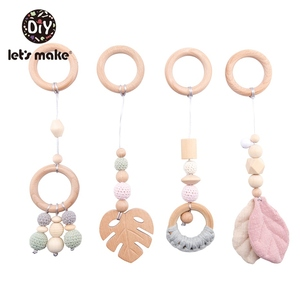 Image 4 - LetS Make 4Pc/Set Baby Teething Pacifier Necklace Hanging Toy Wooden Rattles Toys For Children From 0 12 Months  Teether