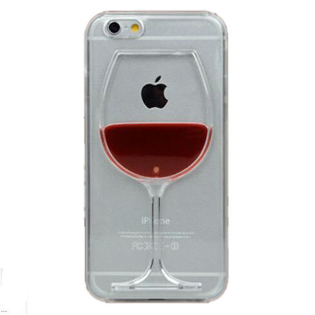 Para o caso do iphone 7 de Xícara de Vinho tinto Líquido Caixa Transparente Para Apple iPhone 7 7 mais 6 6 S plus 5 5S 5C 4 4S Telefone Casos Back Covers