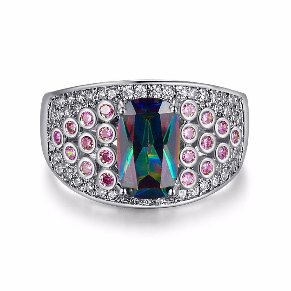 Hot Unique Design Big Purple Rainbow CZ Ringss