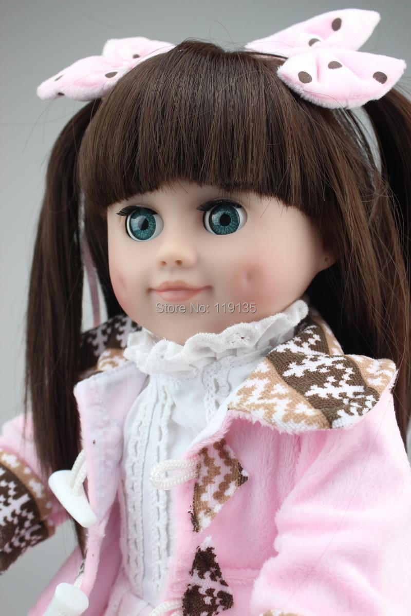 Brown long straight hair AMERICAN GIRL Dolls 18'' Reborn Baby dolls full handmade newborn baby doll baby toys soft girls gift  american princess 18 45cm girl dolls brown long hair beauty girl reborn handmade vinyl newborn baby doll girls gift