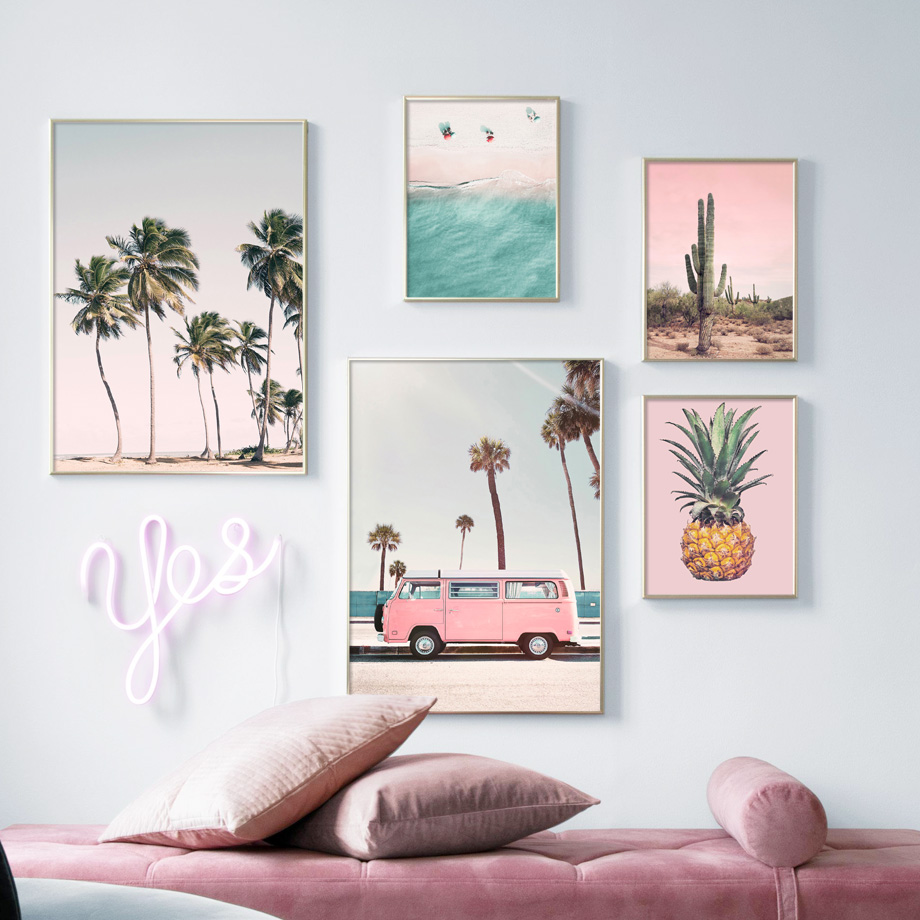 Pink Bus Cactus Pineapple Blue Sea Beach Wall Art Canvas Painting Nordic Posters And Prints Wall Pictures For Living Room Decor