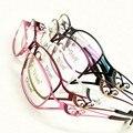 Gel de Brillo de Metal Medio borde de la Prescripción Óptica MARCOS de ANTEOJOS Mujeres Gafas RX Spectacle D9726 Eyewear