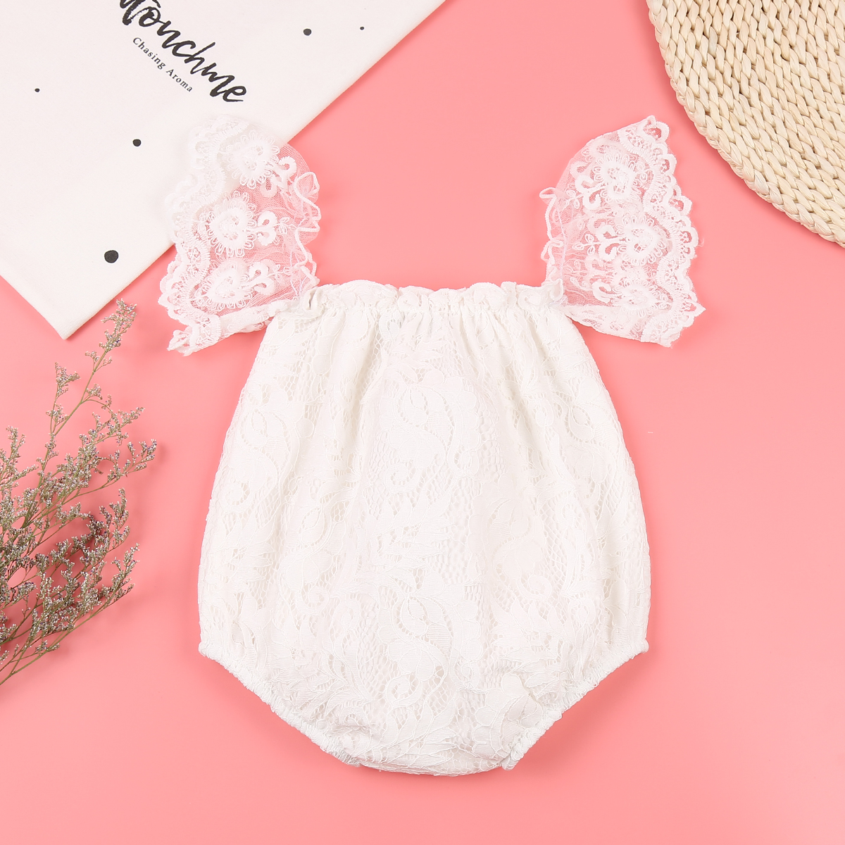 Summer 2017 Cute Newborn Baby Girl Lace Off Shoulder Romper Sexy Jumpsuit Outfit Sunsuit Clothes