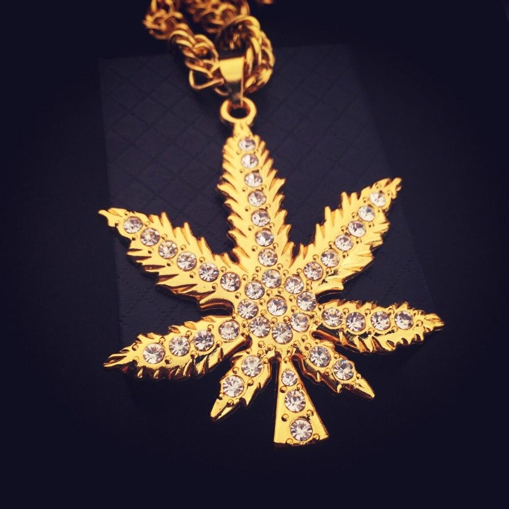 2019 meilleures ventes artisanat exquis produit chaud New Golden Weed Feuille Marijua Pendentif Collier Cristal CZ ...