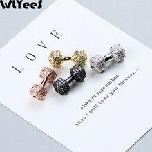 лучшая цена WLYeeS White zircon Weight lifting Dumbbells Pendant Copper bead Pave CZ Metal Spacer Loose bead For Jewelry making DIY bracelet