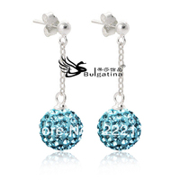 Aquarmine Crystal Ball Earrings Shamballa Style Bead Earrings For Women S Hot Sale Free Shipping