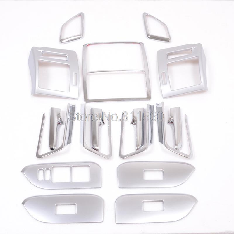 For Toyota LC Prado J150 2014 2015 abs interior cover trim+Inner handle frame armrest cover interior door panels parts 17pcs for toyota highlander 2014 2015 abs auto interior chrome gear box panel modified hand brake trim decoration cover
