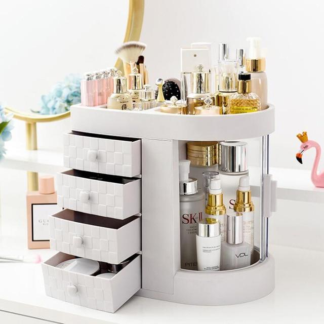 2019 Hot Sale Women bathroom cosmetics storage box and dustproof bathroom Large makeup organizer skin care jewelry storage drawe