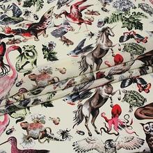 Лошадь/Фламинго шелк тутового шелкопряда крепдешин хлопок и лен ткани печати ткань для юбки платье 50*135 см
