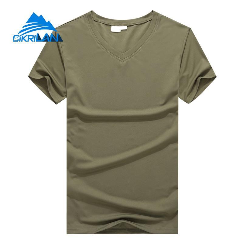 New Summer V-neck Quick Dry Leisure Sports Outdoor Hiking Running T-shirt Men Short Sleeve Lightweight Combat Tactical T Shirt