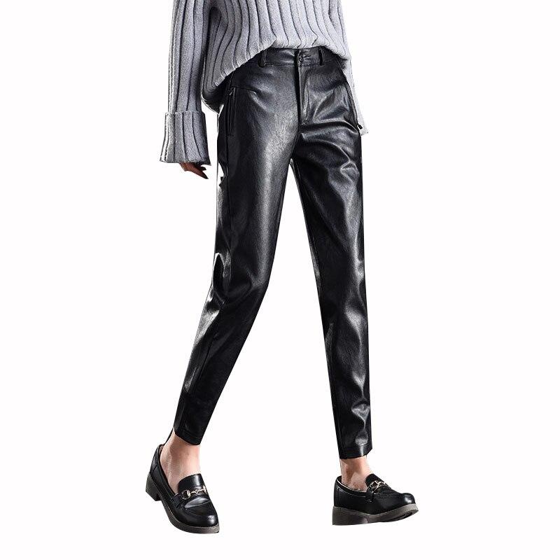 MOBTRS nouveau hiver élégant dames mode PU cuir pantalon Slim pantalon femmes marque Design femmes pantalon