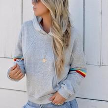 women sweatshirt 2018 autumn hooded hoodies chic and American style long sleeve grey hooded female sweatshirts harajuku dark grey hooded design long sleeves sweatshirt