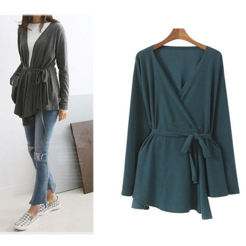 L-4XL Women Cardigan Tops Knitte Asymmetric Hem Wrap Lace-Up Belted Slim Casual Blouse Blusas Shirt Long Sleeve Kimono Plus Size 1