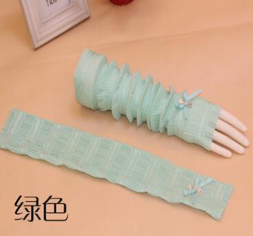 Женские летние длинные перчатки, солнцезащитные тонкие длинные дизайнерские анти-УФ шелковые шифоновые перчатки, сексуальные перчатки без пальцев R576 - Цвет: green
