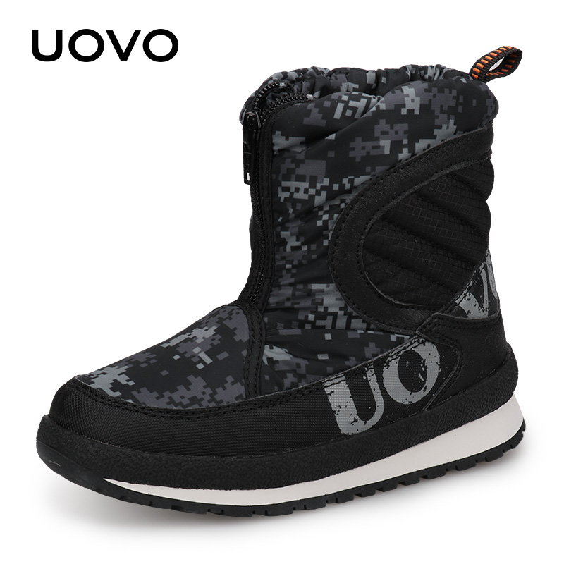 UOVO 2018 New Winter Shoes For Boys And Girls High Quality Fashion Kids Winter Boots Warm Snow Children Footwear #30-38 uovo children winter shoes kids fox fur walking shoes girls snow shoes mid cut footwear for kids winter hiking boots for girls