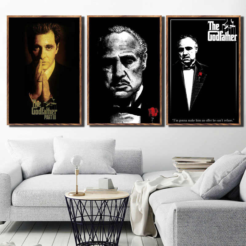 P050 The Godfather Movie Series Marlon Brando Al Pacino Classic Art Painting Silk Canvas Poster Wall Home Decor