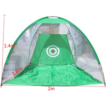 New 2M Foldable Golf Cage Net Practice Training Aid Mat Hitting Net for Outdoor Indoor Garden Grassland Nylon Water Resistant