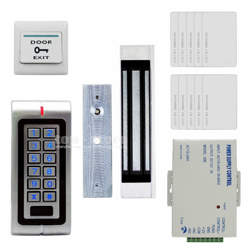 DIYSECUR Magnetic Lock  125KHz RFID Waterproof Metal Password Keypad ID Card Reader Door Access Control System Kit W1 lpsecurity 125khz id em or 13 56mhz rfid metal door lock access controller with digital backlit keypad ip65 waterproof