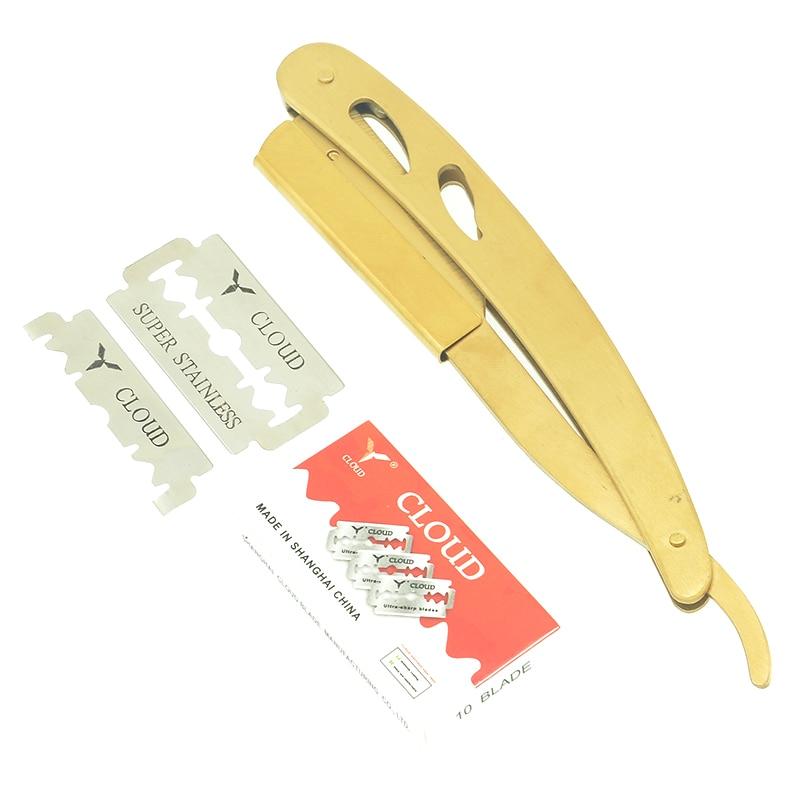 1Pcs Men's Shaving Knifes Straight Razor With Blades Manual Barber Razors Folding Knife Stainless Steel Shaving Razors HC0016