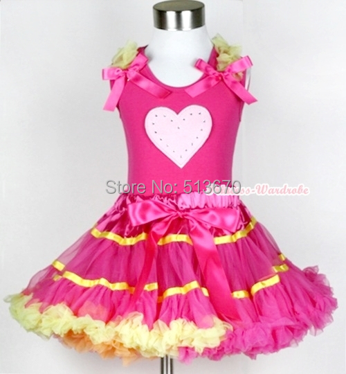Hot Pink Yellow Rainbow Pettiskirt VALENTINE Pink HEART Hot Pink Top Set 1-8Year MAPSA0217