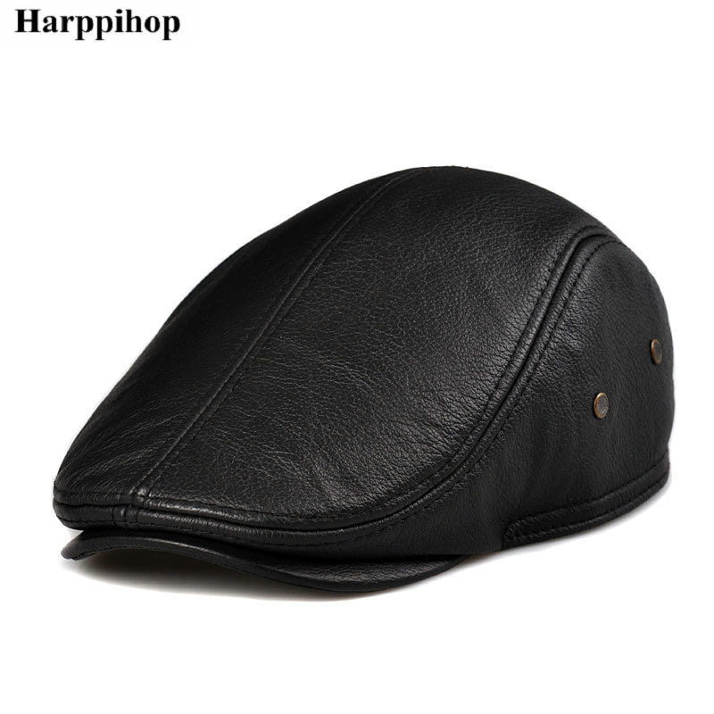Cowhide ear protector cap quinquagenarian cap genuine leather casual cap autumn and winter forward cap male leather hat in Men 39 s Berets from Apparel Accessories