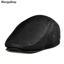 Cowhide ear protector cap quinquagenarian genuine leather casual autumn and winter forward male hat