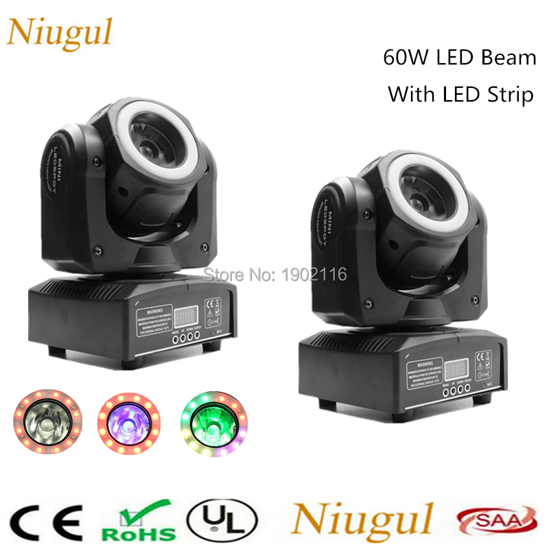 цена 2pcs/lot 60W LED Beam Moving Head Light With Halo,DJ LED Spot Light With LED Strip,Disco Bar Nightclub DMX LED Stage Lighting