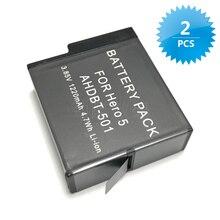 2 pcs Bateria para GoPro GoPro Hero 5 Bateria Ir Pro hero5 AHDBT-501 bateria 1220 mAh Li-ion recarregável bateria gopro acessórios