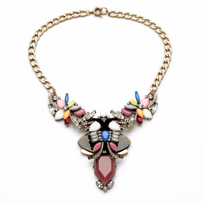 Chic Sep Handcraft Exquisite Female Party Antique Gold Color Colorful Flower Dress Necklace ...