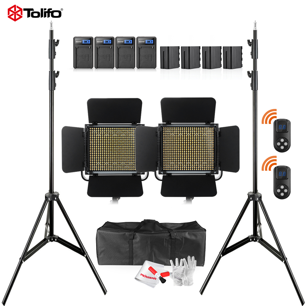 2Pcs Tolifo GK-600MB Pro 600pcs Bi-color LED Video Light with 2.4G Wireless Remote Control & 4 Batteries & Light Stand & Bag