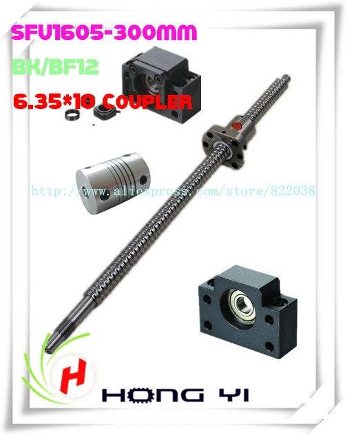 SFU1605 L=300mm ball screw + 1PCS ballscrew ball nut 2 X 6.35*10 Coupler + 1 X BK12/ BF12 Support CNC 1pcs ball screw sfu1605 l 300mm 1pcs ballscrew ball nut 1 set bk12 bf12 support cnc