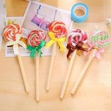 24 개/몫 Kawaii Lollipop design 0.5mm 검정 잉크 볼펜 학생 서명 볼펜 사무실 학교 문구 용품