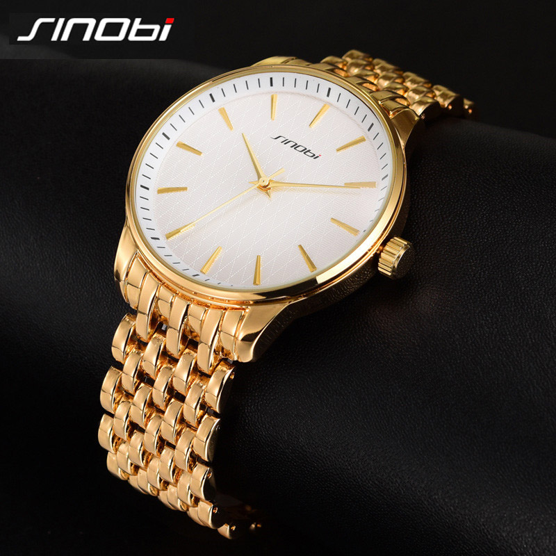 High Quality SINOBI Mens Casual Sports Watches Waterproof Golden Steel Wrist Watches Luxury Brand Males Quartz