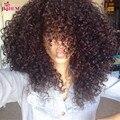 9A top feixes de cabelo encaracolado cabelo encaracolado peruano com fecho com onda encaracolado fechamento tecer Peruano com fecho de 3 feixes fechamento