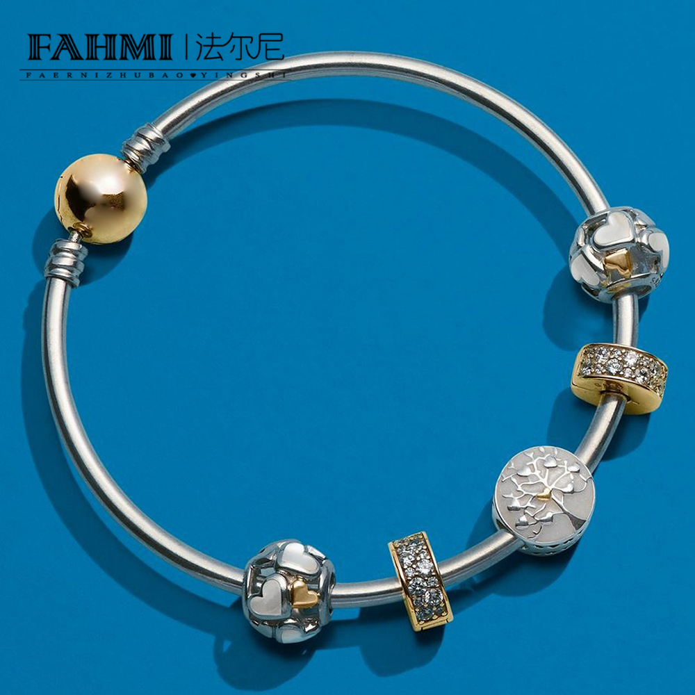 FAHMI 100% 925 Sterling Silver 1:1 Tree of Hearts Charm Luminous Hearts Charm, Mother-Of-Pearl & 14K Gold Bangle Gift SetFAHMI 100% 925 Sterling Silver 1:1 Tree of Hearts Charm Luminous Hearts Charm, Mother-Of-Pearl & 14K Gold Bangle Gift Set