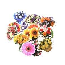 15 Pcs/set DMLSKY Flowers Floral album sticker decals sunflower pvc Scrapbooking for phone luggage laptop DIY Acessories M3539