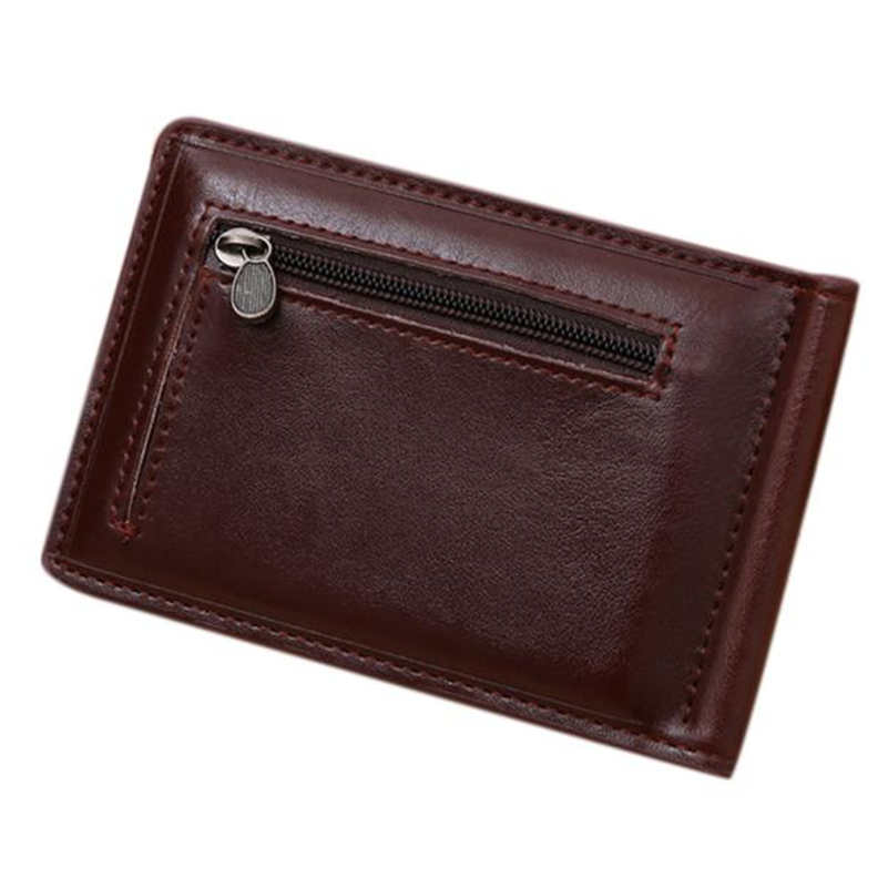 daa02f169a71 US $6.23 28% OFF|Mini Zipper Wallet Credit Card ID Coin Holder High Quality  Leather Brands Money Clip Wallet's Men's porte monnaie Bolsa #2264-in ...