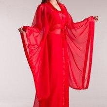 Костюм hanfu классический китайский белый/красный/розовый народные танцевальные костюмы Han ткань слинг/drag convening и пояс/шифон песок