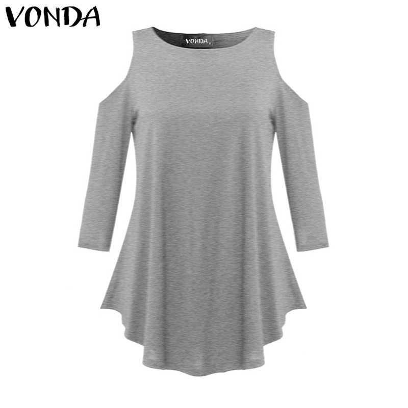 VONDA Maternity Clothings 2019 Women Pregnancy Blouses Shirts Casual Loose Elegant 3/4 Sleeve Solid Tops Asymmetrical Pullovers