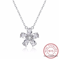 Fine Jewelry Made with Crystal Plum Blossom Flower Real S925 Sterling Silver Necklace for Women Gift Hot Sell 2018