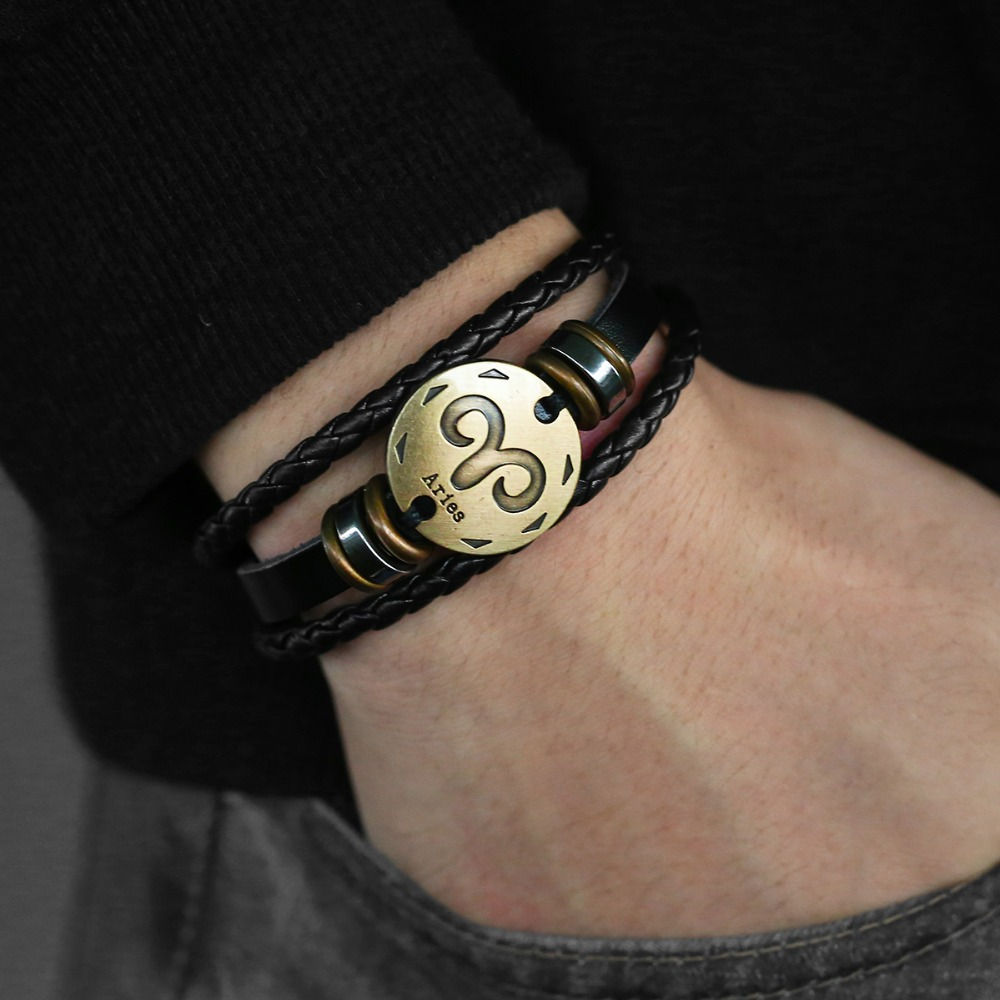 12 Zodiac Sign Horoscope Men's Leather Bracelet Vintage Retro Charm Wristband Male Jewelry Gifts for Men Leo Cancer Aries LBM136 1