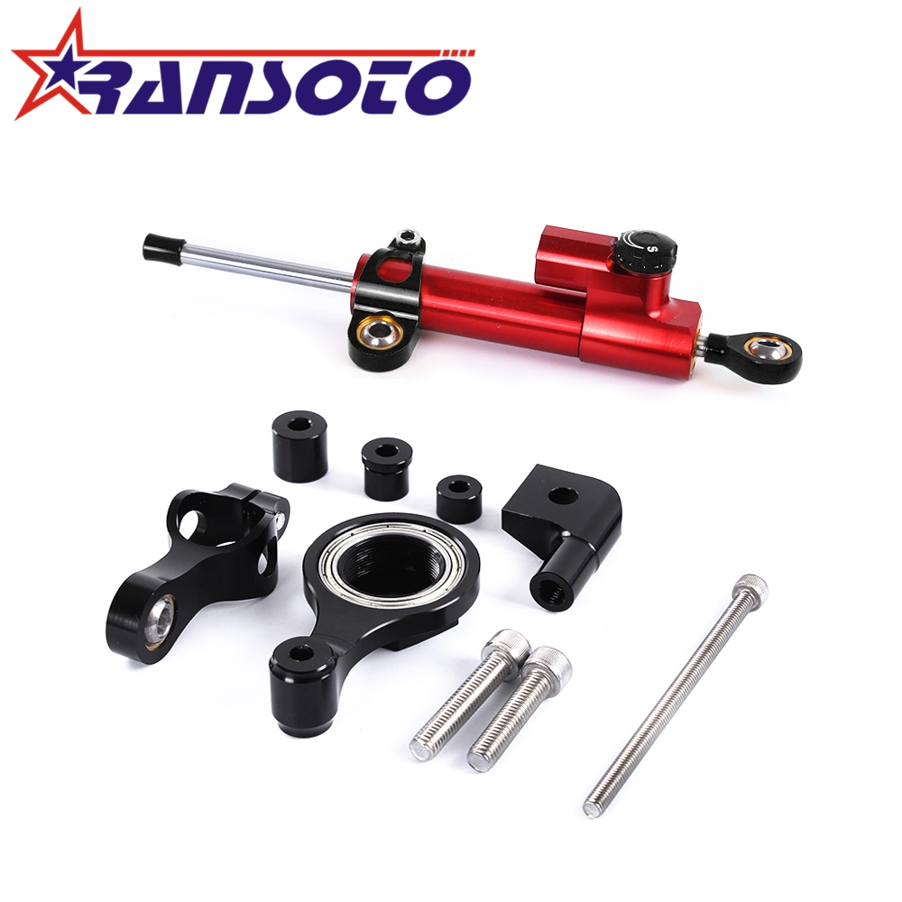 RANSOTO Motorcycle CNC Steering Damper Stabilizerlinear Reversed Safety Control with Bracket For YAMAHA YZF R1 R6