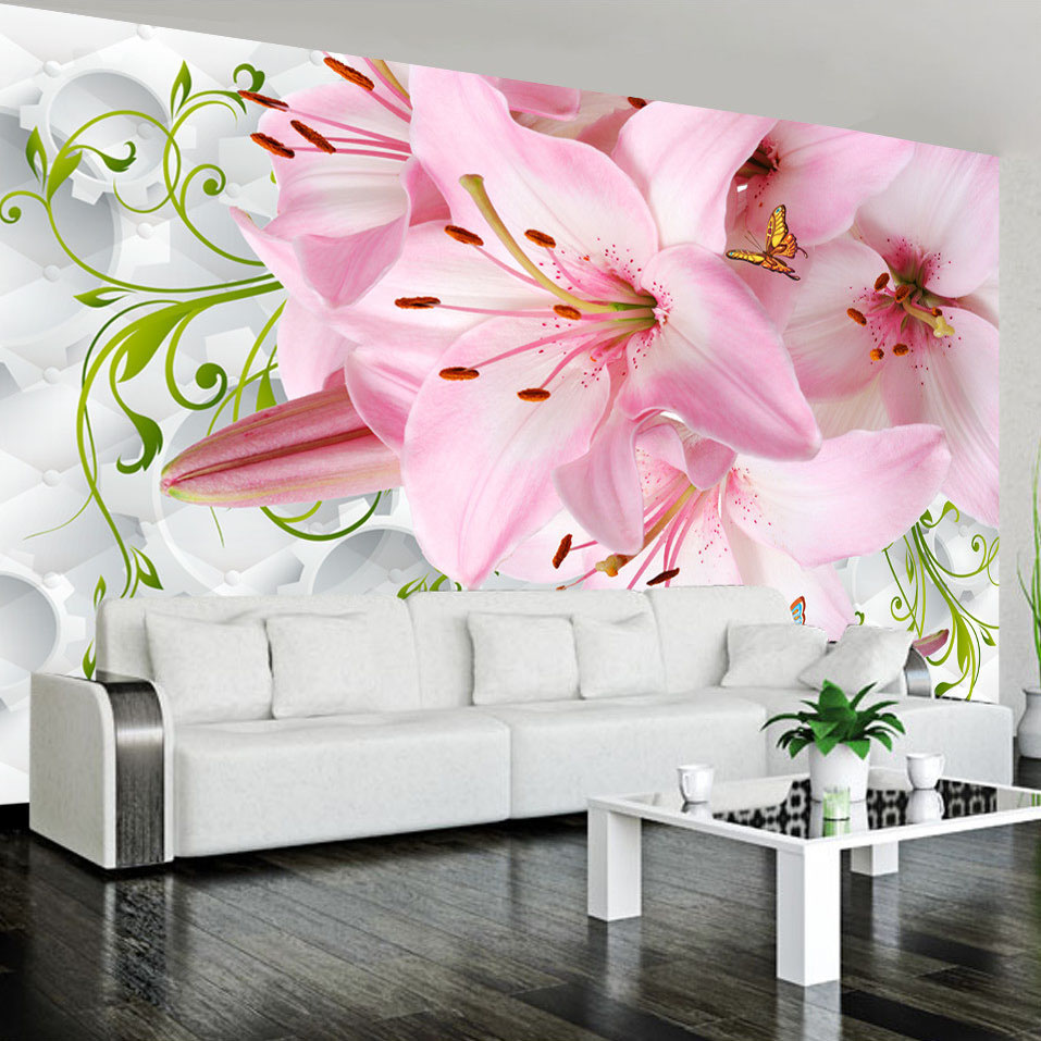 Flowers Wall Wallpapers Design For Your Bedrooms Decorating: Romantic Pink Lily Flowers Photo Mural For Bedroom Living