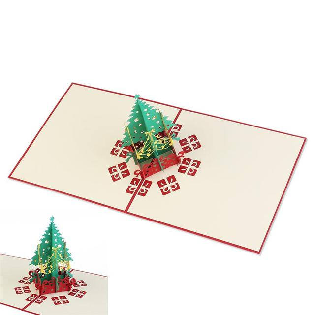 Pop Up Christmas Cards.Us 4 04 Aliexpress Com Buy 3d Pop Up Christmas Tree Greeting Cards For Gift Collection Congraduation Card Handcraft Red From Reliable Card Card