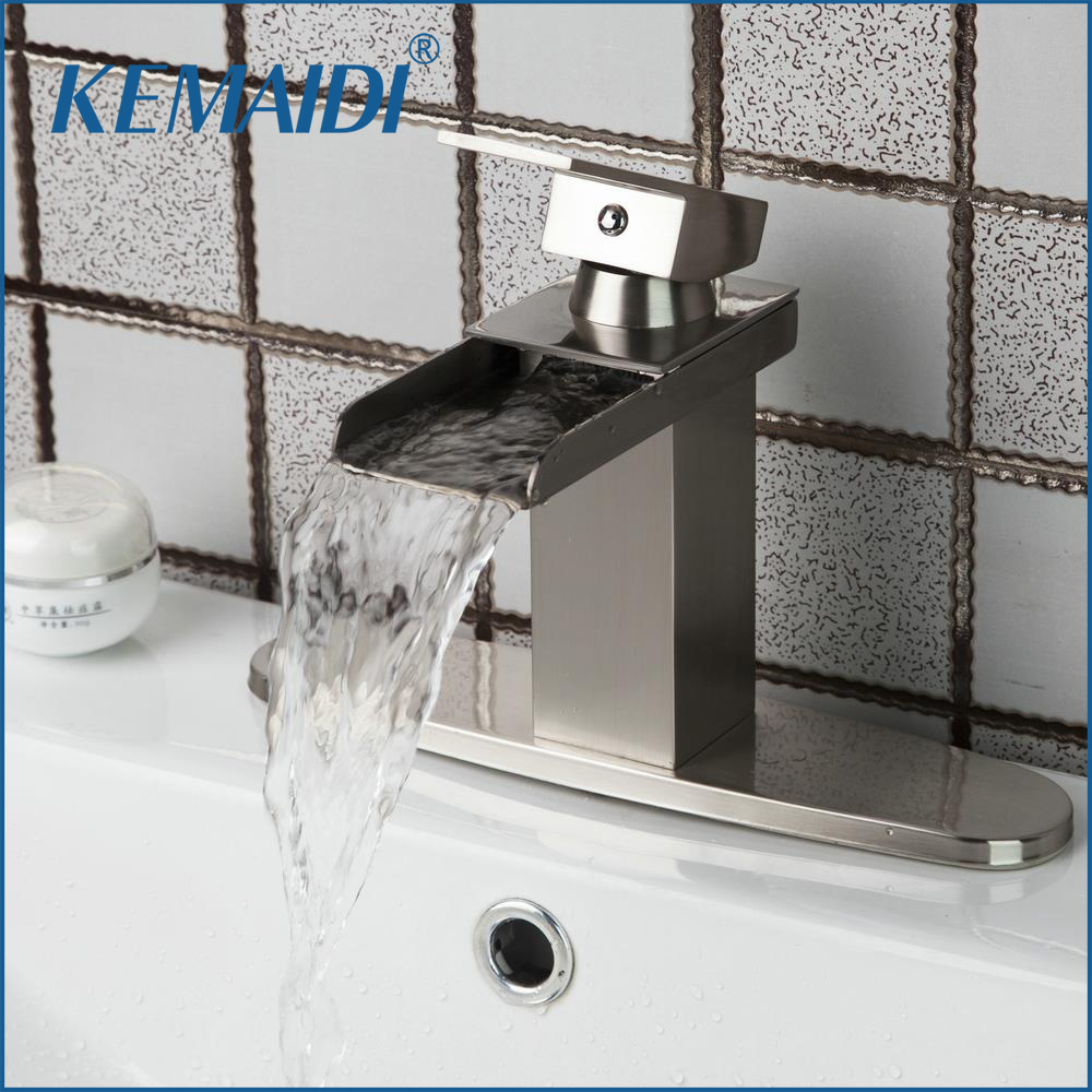 KEMAIDI Good Quality Bathroom Faucet Brass Nickel Brushed Bathroom Basin Sink Waterfall Mixer Faucets With Cover Plate