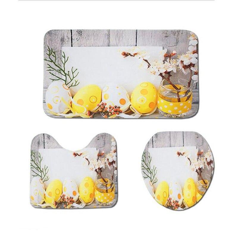 מערב סגנון 3Pcs אמבטיה רצפת מחצלת פלנל אסלת כרית סט עם שמח פסחא הדפסת דפוס החלקה שילוב שטיחים סט