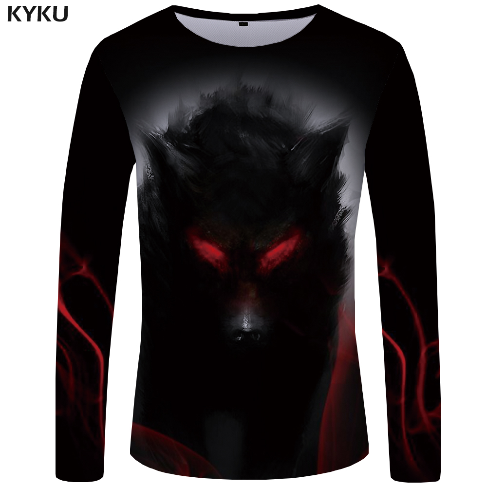 KYKU Brand Wolf T shirt Men Long sleeve shirt Eye Graphic Blood Printed Tshirt Black Cool Vintage Japan Hip hop Mens Clothing