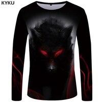 Kyku Merk Wolf T Shirt Heren Lange Mouw Eye Grafische Bloed Gedrukt Tshirt Black Cool Vintage Japan Hip Hop heren Kleding|T-shirts|Mannenkleding -