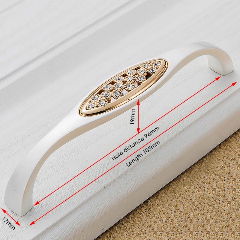 KAK хрустальные золотые дверные ручки с бриллиантами, роскошные цинковые ручки для ящика шкафа, европейские ручки для шкафа, мебельные ручки - Цвет: Handle-802-96G