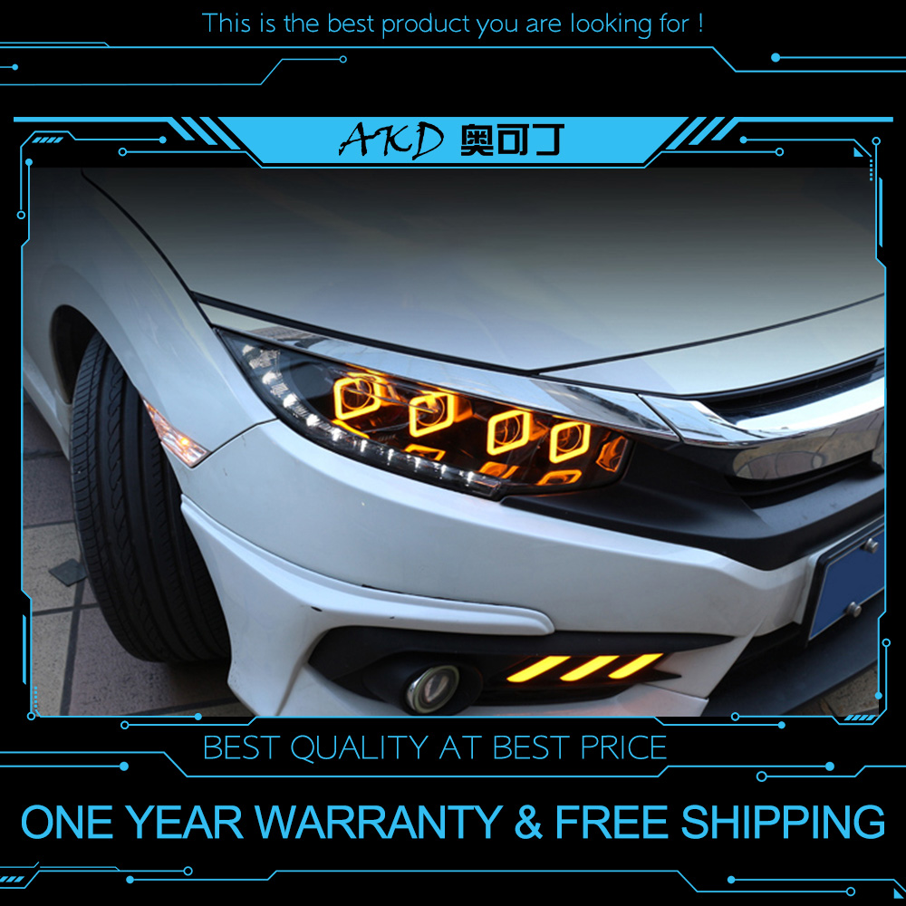 AKD tuning cars Headlight For Honda CIVIC X G10 Bugatti Headlights LED DRL Running lights Bi Xenon Beam Fog lights angel eyes